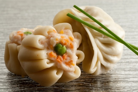 asian foods: shrimp dim sum and chive