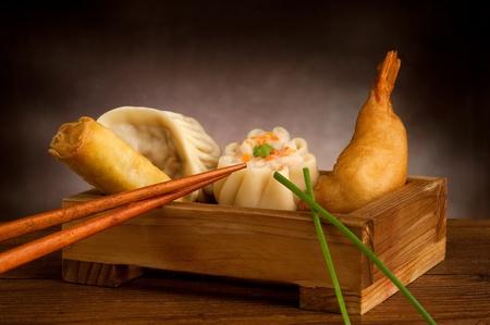 sum: china food on wood background