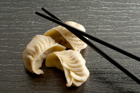 dumpling:  dim sum with chive and chopsticks