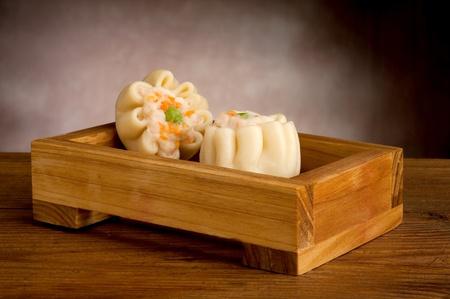china food on wood background photo