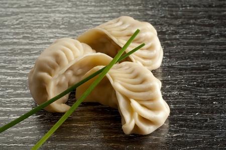 dumpling:  dim sum with chive Stock Photo