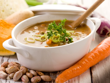 soup bowl: soup vegetables with ingredients Stock Photo