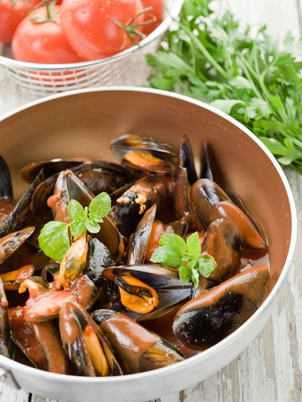 mussel  with tomato sauce and basil over casserole Stock Photo - 10591011