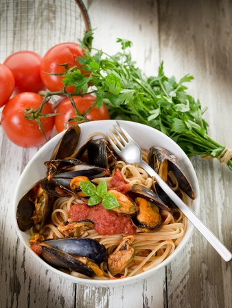 pasta with mussel and tomato sauce Stock Photo - 10591027