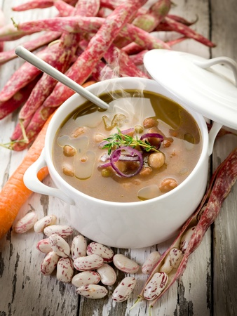 stew: beans soup with ingredients Stock Photo