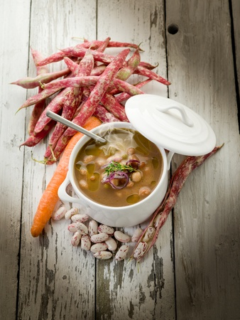minestrone: beans soup with ingredients Stock Photo