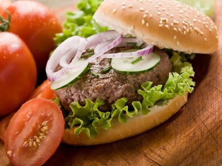 sandwich with hamburger and slice vegetables photo
