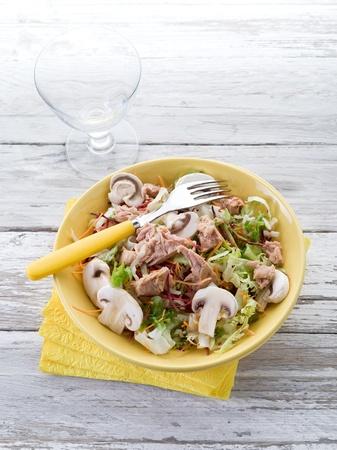 healthy mixed salad with tuna and slice mushroom photo