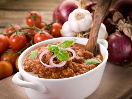 ragout sauce on bowl