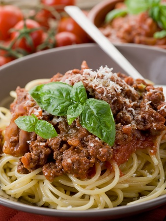 spaghetti sauce: spaghetti bolognese with ragout sauce and parmesan cheese Stock Photo