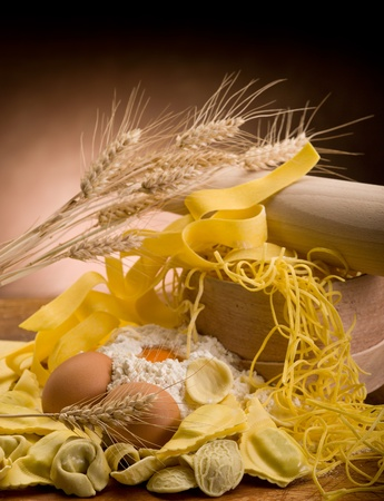 tradional italian homemade pasta with ingredients photo