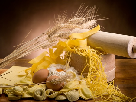 tradional: tradional italian homemade pasta with ingredients