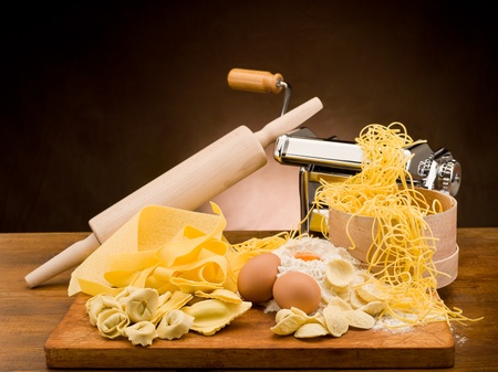 traditional italian homemade pasta with ingredients photo
