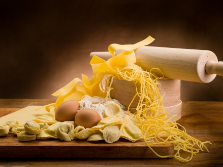 yellow flour: traditional italian homemade pasta with ingredients Stock Photo