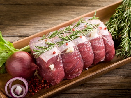 roast beef with ingredients ready to cooking photo