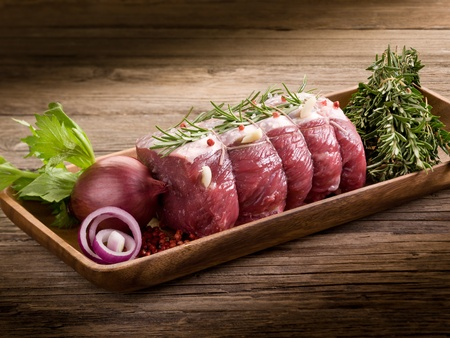 beef meat: roast beef with ingredients ready to cooking