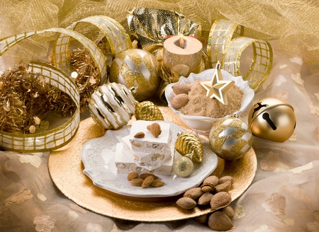 nougat: almond nougat aver christmas table Stock Photo