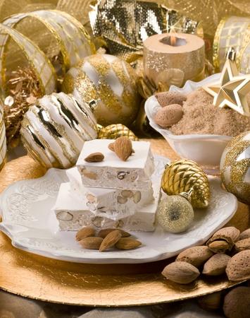 almond nougat aver christmas table photo