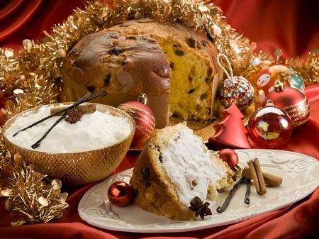 slice panettone with mascarpone cream photo
