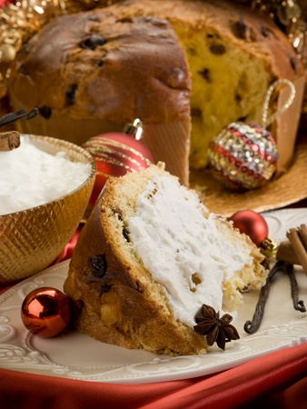 slice panettone with mascarpone cream photo