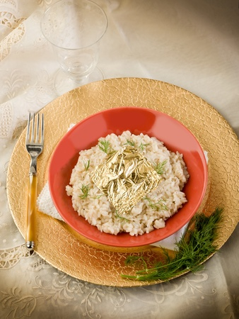 risotto with gold leaf photo