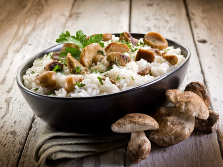 risotto with cep edible mushrooms photo