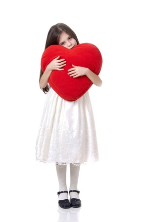 little girl with red heart photo