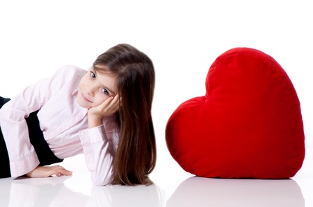 little girl with red heart Stock Photo - 11725422