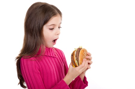 big mouth: surprise little girl looking hamburger