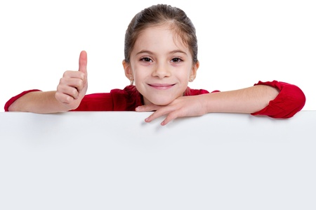 pointing up: girl holding empty board