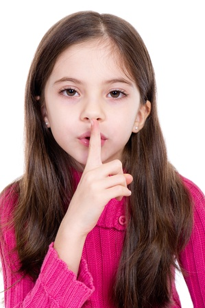 little girl say silence is a secret photo