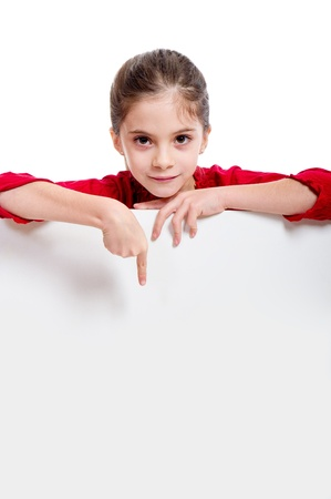 kid pointing: girl holding empty board