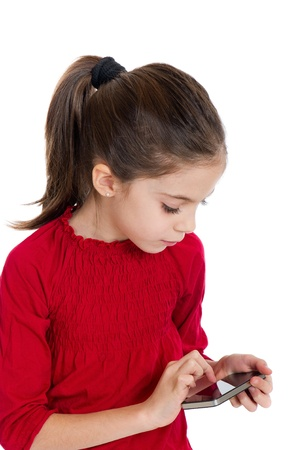 little girl with smartphone photo
