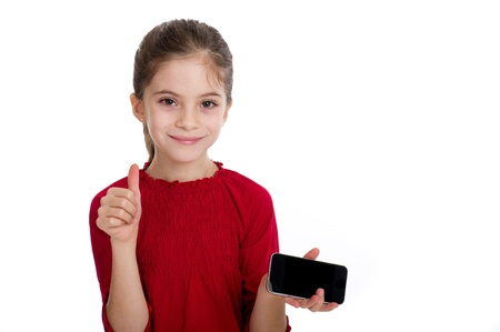 beautiful preteen girl: little girl with smartphone Stock Photo