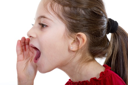 mouth closed: little girl screaming
