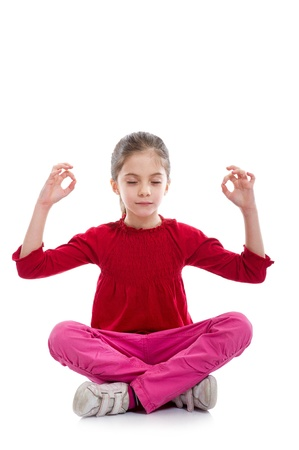young girl  in relaxed yoga pose photo
