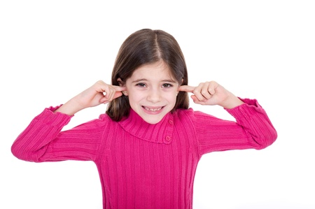 loudness: Girl putting finger on her ears Stock Photo