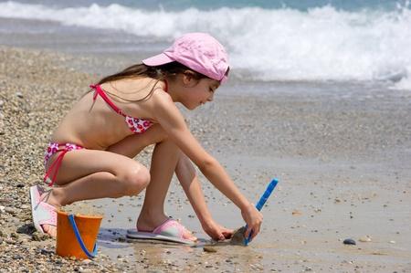 little girl on the beach Stock Photo - 11735915