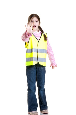 little girl with safety jacket photo