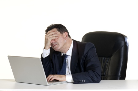 frustrated man: tired manager Stock Photo