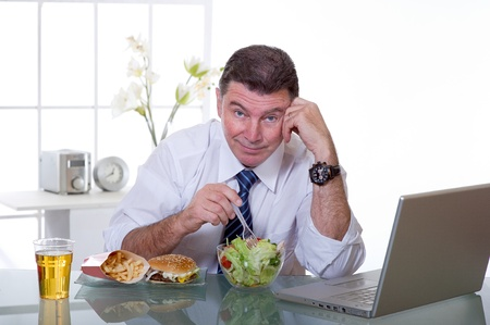 healthy food concept at workplace photo