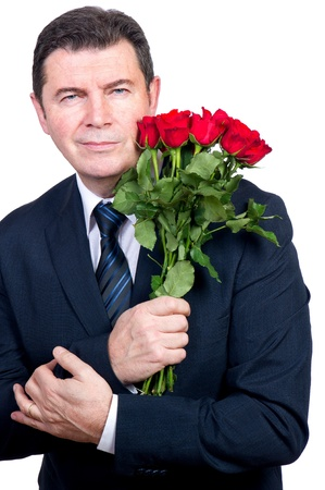 man with roses photo