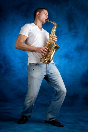 young musician: man with sax