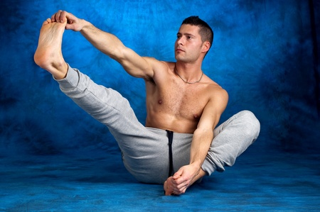 tracksuit: man stretching