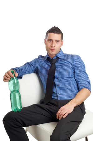 man drink water photo