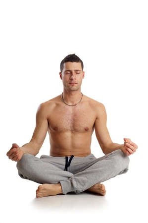 piedi nudi ragazzo: l'uomo in posizione yoga Archivio Fotografico