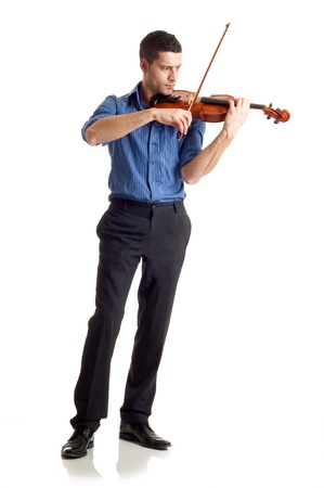 viola: man with violin