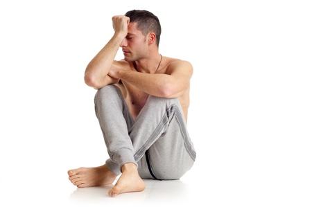 sick room: man with  headache Stock Photo