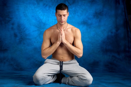 man on yoga position photo