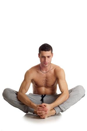 man on yoga position photo